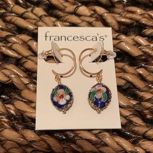 "Francesca's Collections Jewelry - Francesca's ""Anastasia"" Navy Cloisonné Earrings"